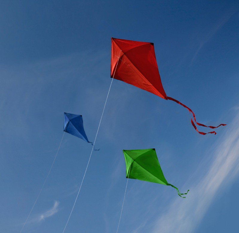 Flying kites after our class.