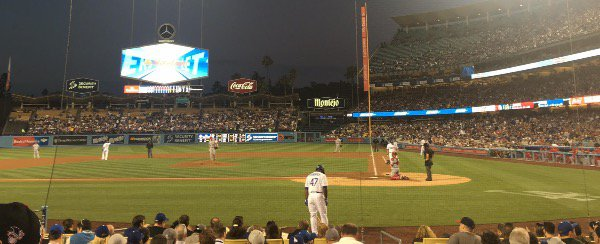 Watching the Dodgers play under the lights!