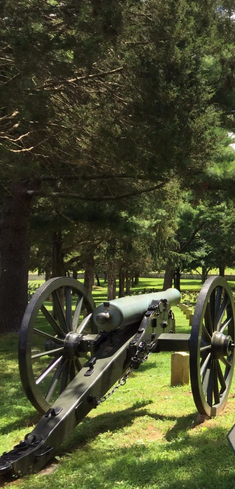 Cannon amid tombstones.