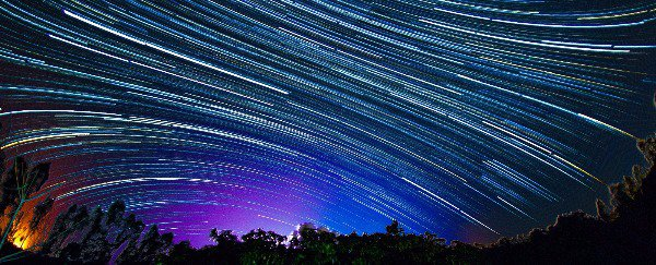 A time lapse of the night sky.