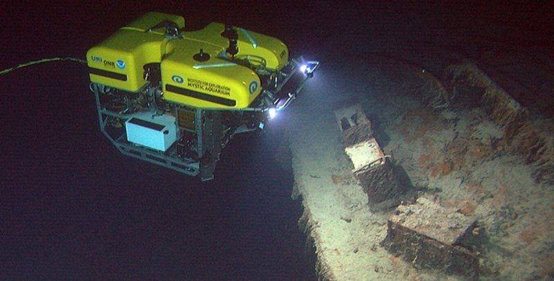 A brave robot, exploring the wreck of the RMS Titanic.