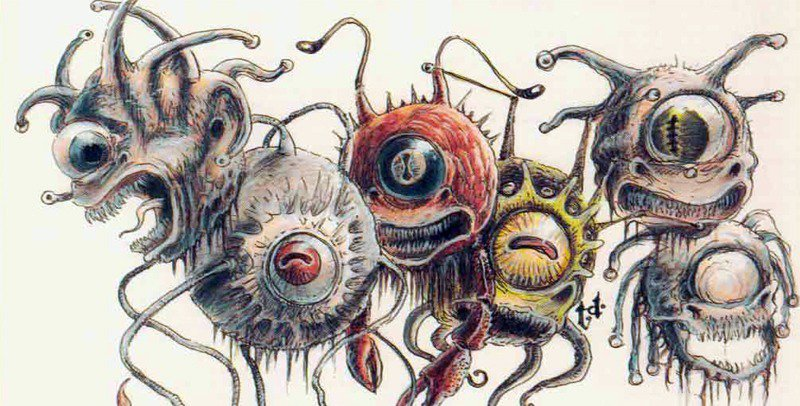 The classic Dungeons and Dragons Beholder floats around eerily.
