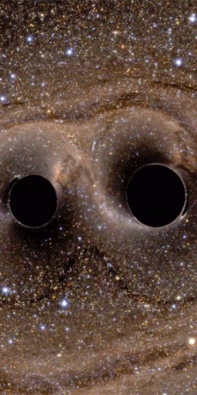 2 black holes collide, creating waves