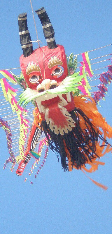 Chinese kite flying high in the sky
