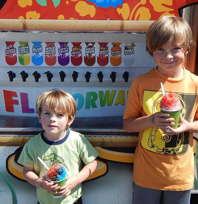 The kids with slushies last time we went down.