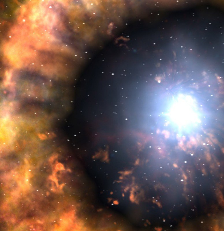 Nearby supernova hours after exploding