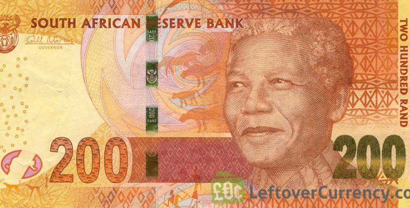 Nelson Mandela on the South African Rand currency.