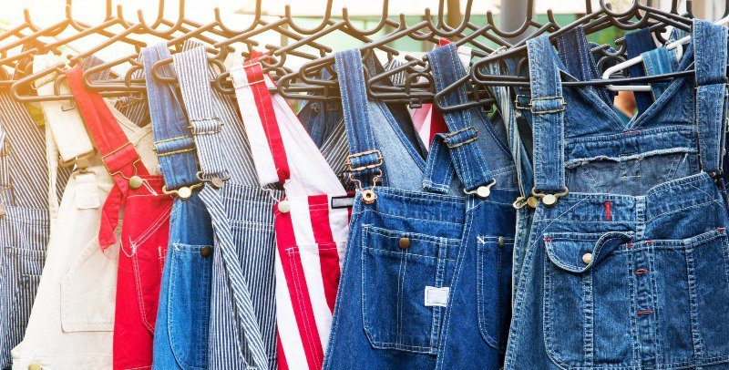 A row of overalls that can easily be used for work purposes
