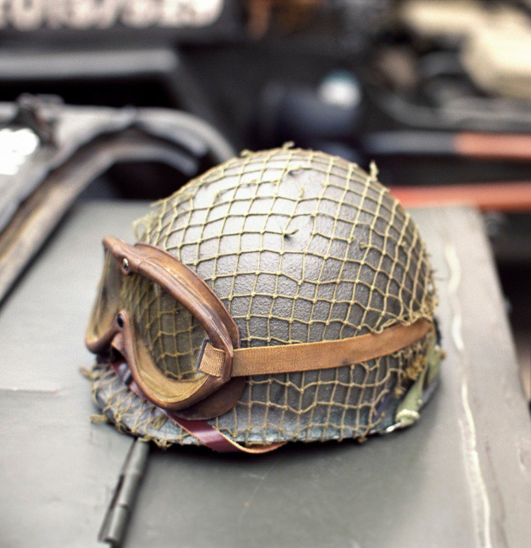 An example of a helmet used during the Battle of Carentan
