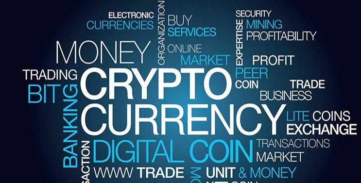 Cryptocurrency word cloud.