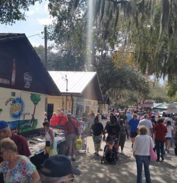 Some of the flea market is outside.