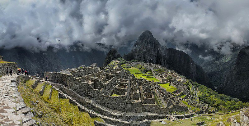Machu Picchu with Huayna Picchu in the background.