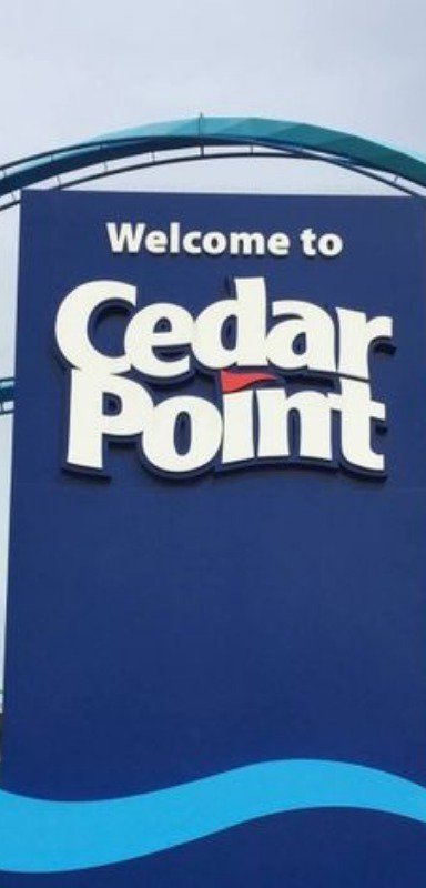 Cedar Point welcoming sign.