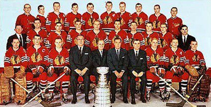 Defending Black Hawk champions team photo from 1960-61 winning season.