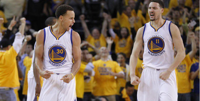 Curry and Thompson giving their battle cries.